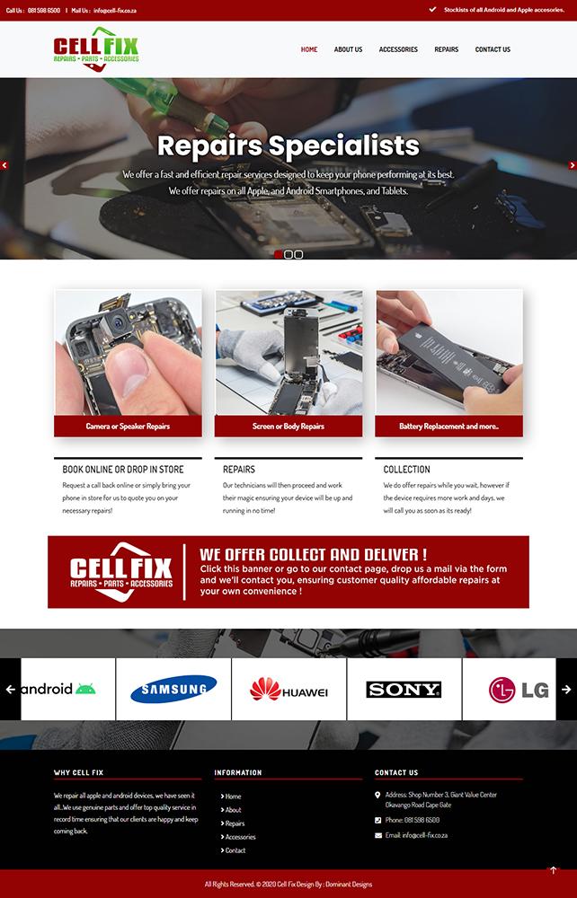 Cell Fix Website Design