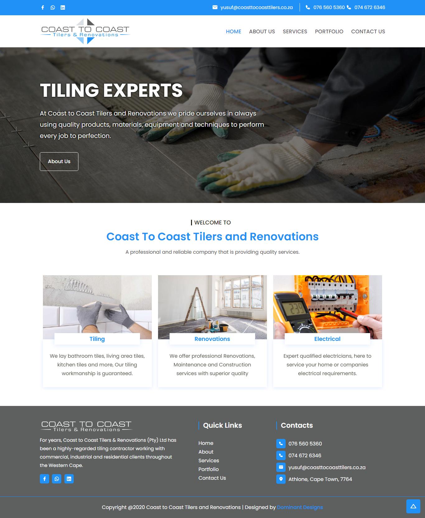 Coast To Coast Tilers Website Design
