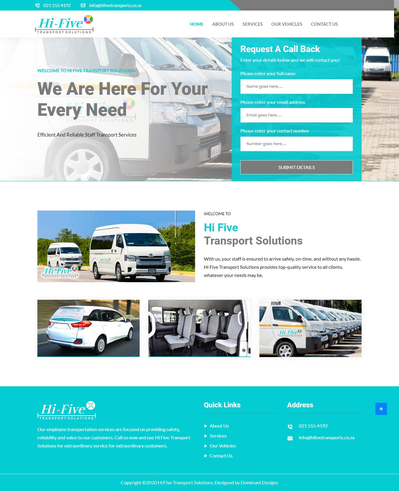 Hi Five Transport Website Design
