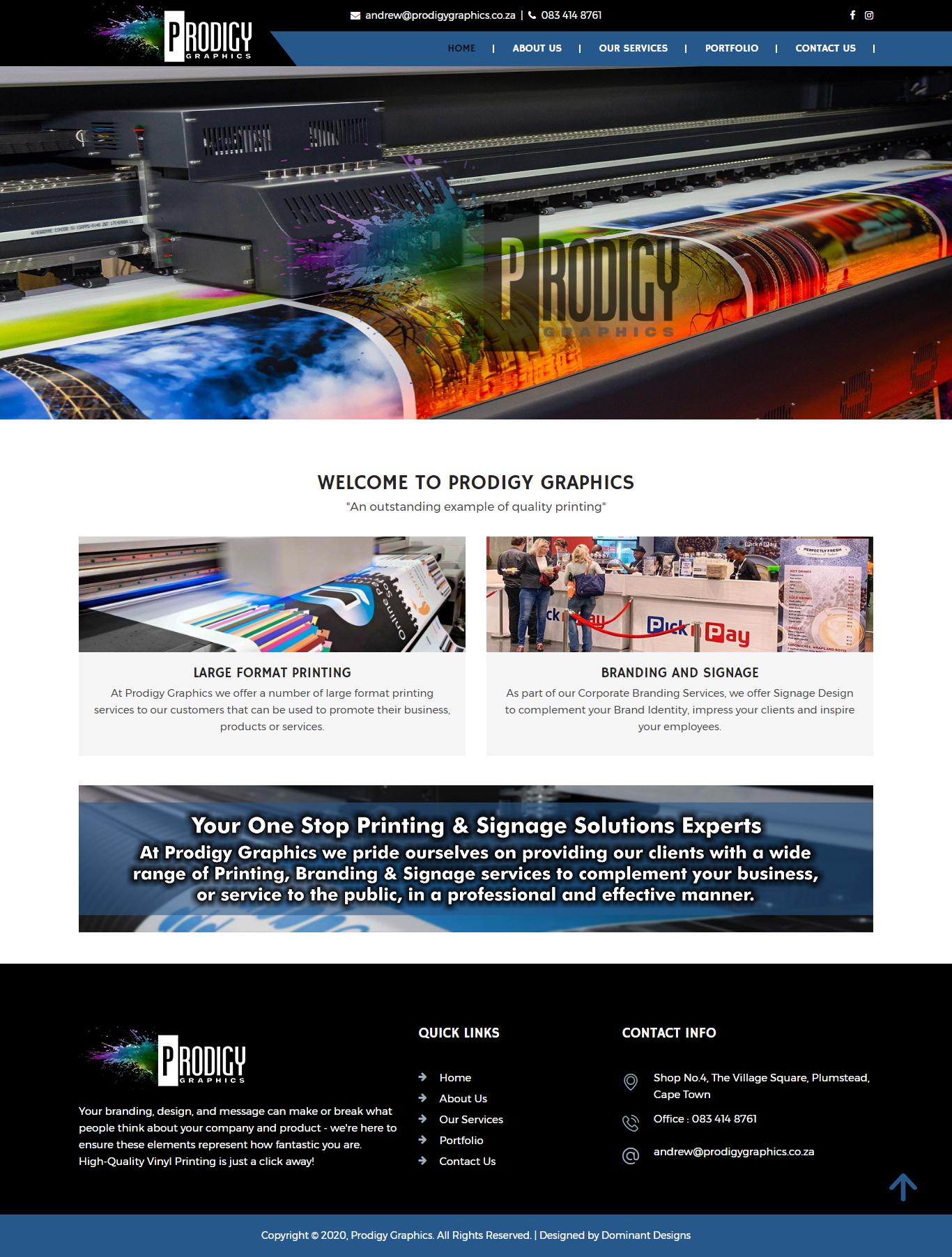 Prodigy Graphics Website Design