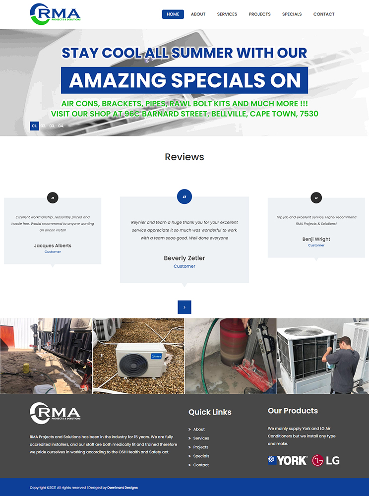 RMA Projects And Solutions Website Design